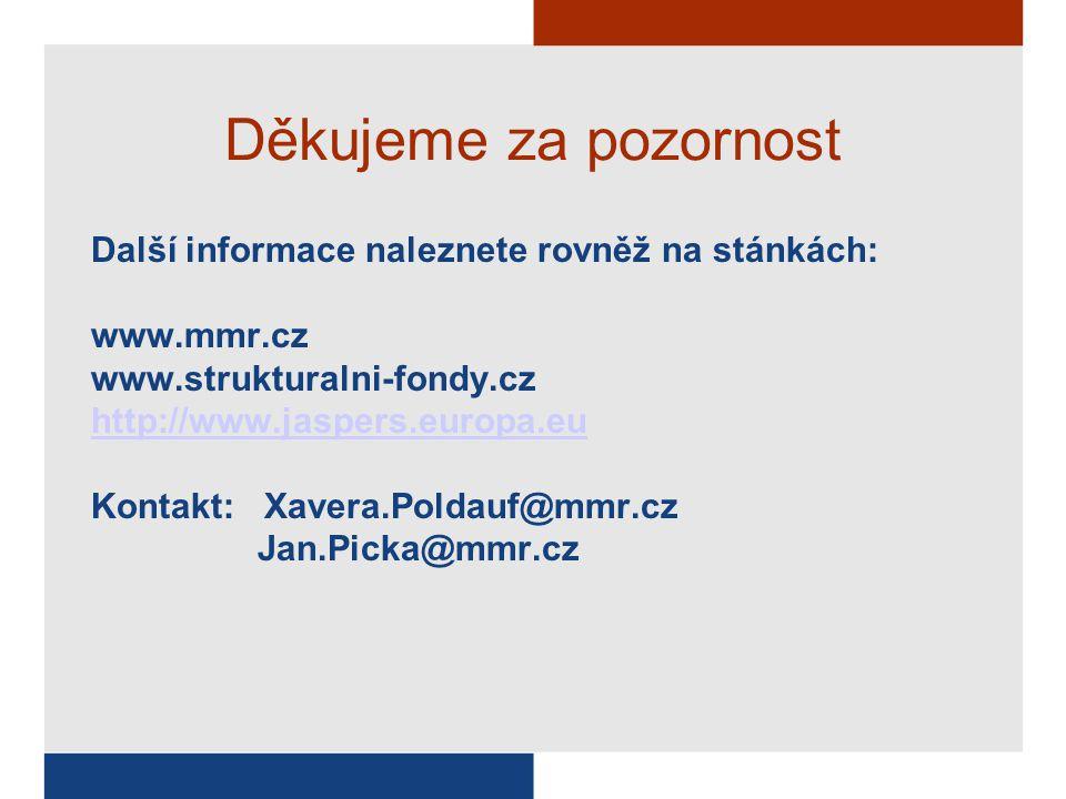 Děkujeme za pozornost Další informace naleznete rovněž na stánkách: www.mmr.cz www.strukturalni-fondy.cz http://www.jaspers.europa.eu Kontakt: Xavera.