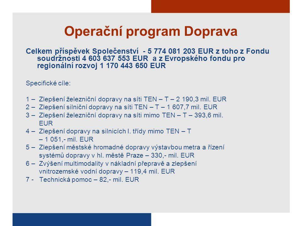Operační program Doprava Celkem příspěvek Společenství - 5 774 081 203 EUR z toho z Fondu soudržnosti 4 603 637 553 EUR a z Evropského fondu pro regio