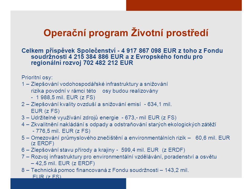 Operační program Životní prostředí Celkem příspěvek Společenství - 4 917 867 098 EUR z toho z Fondu soudržnosti 4 215 384 886 EUR a z Evropského fondu