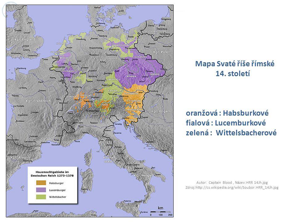 Mapa Svaté říše římské 14. století oranžová : Habsburkové fialová : Lucemburkové zelená : Wittelsbacherové Autor: Captain Blood, Název:HRR 14Jh.jpg Zd