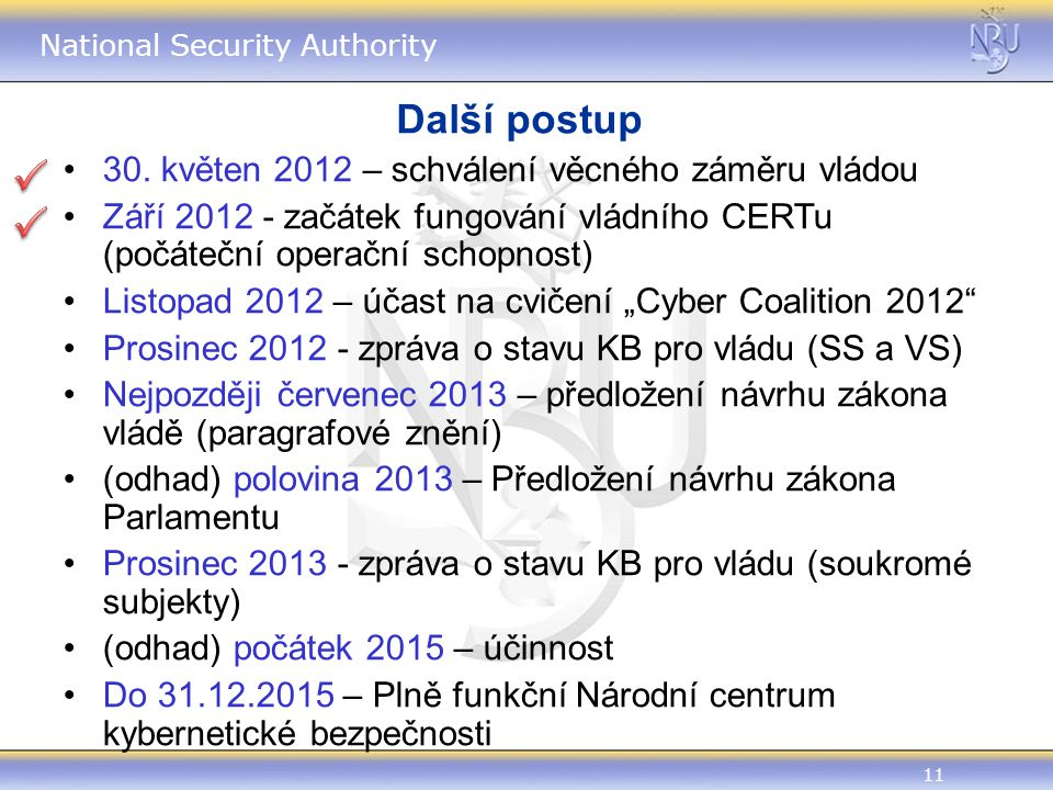 11 National Security Authority Další postup 30.