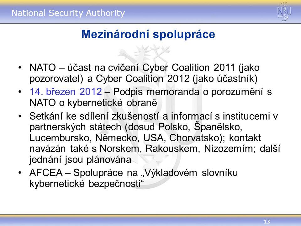 13 National Security Authority Mezinárodní spolupráce NATO – účast na cvičení Cyber Coalition 2011 (jako pozorovatel) a Cyber Coalition 2012 (jako účastník) 14.