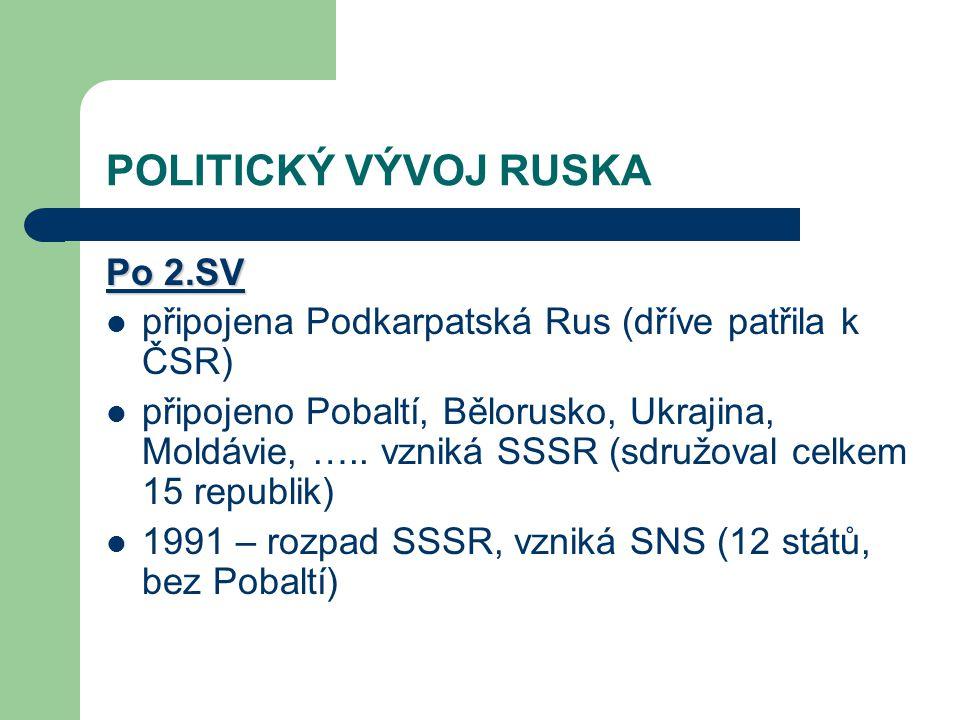 POLITICKÝ VÝVOJ RUSKA Po 2.SV připojena Podkarpatská Rus (dříve patřila k ČSR) připojeno Pobaltí, Bělorusko, Ukrajina, Moldávie, ….. vzniká SSSR (sdru