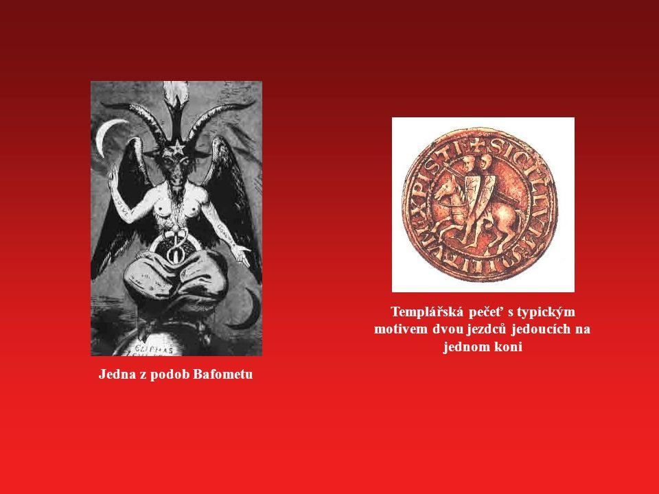 Jedna z podob Bafometu Templářská pečeť s typickým motivem dvou jezdců jedoucích na jednom koni