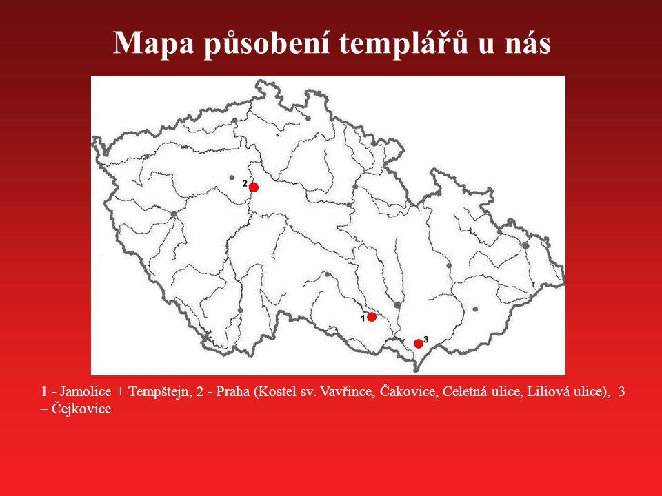 Mapa působení templářů u nás 1 - Jamolice + Tempštejn, 2 - Praha (Kostel sv. Vavřince, Čakovice, Celetná ulice, Liliová ulice), 3 – Čejkovice