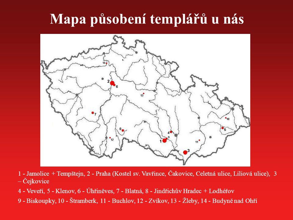 Mapa působení templářů u nás 1 - Jamolice + Tempštejn, 2 - Praha (Kostel sv. Vavřince, Čakovice, Celetná ulice, Liliová ulice), 3 – Čejkovice 4 - Veve