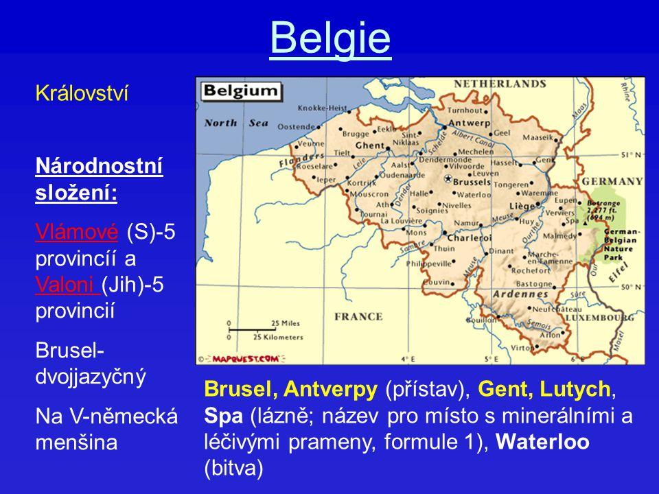 Belgie Národnostní složení: Vlámové (S)-5 provincíí a Valoni (Jih)-5 provincií Brusel- dvojjazyčný Na V-německá menšina Království Brusel, Antverpy (p