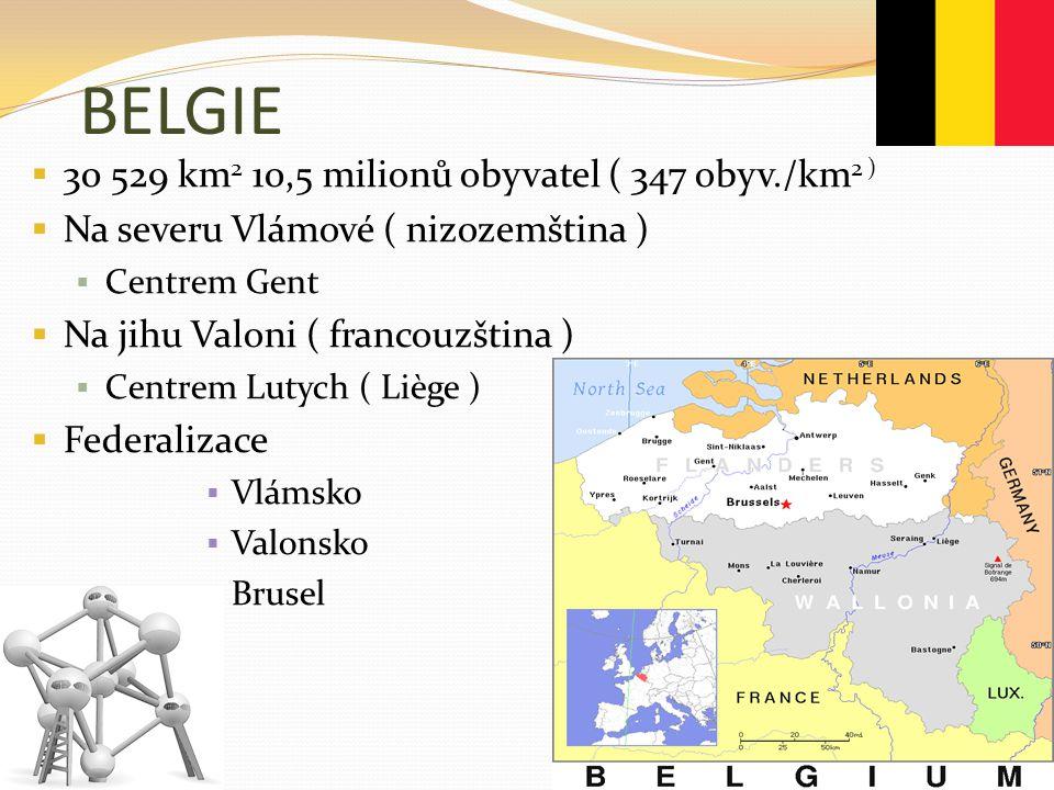 BELGIE  30 529 km 2 10,5 milionů obyvatel ( 347 obyv./km 2 )  Na severu Vlámové ( nizozemština )  Centrem Gent  Na jihu Valoni ( francouzština ) 