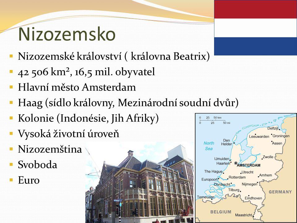 Nizozemsko  Nizozemské království ( královna Beatrix)  42 506 km², 16,5 mil. obyvatel  Hlavní město Amsterdam  Haag (sídlo královny, Mezinárodní s