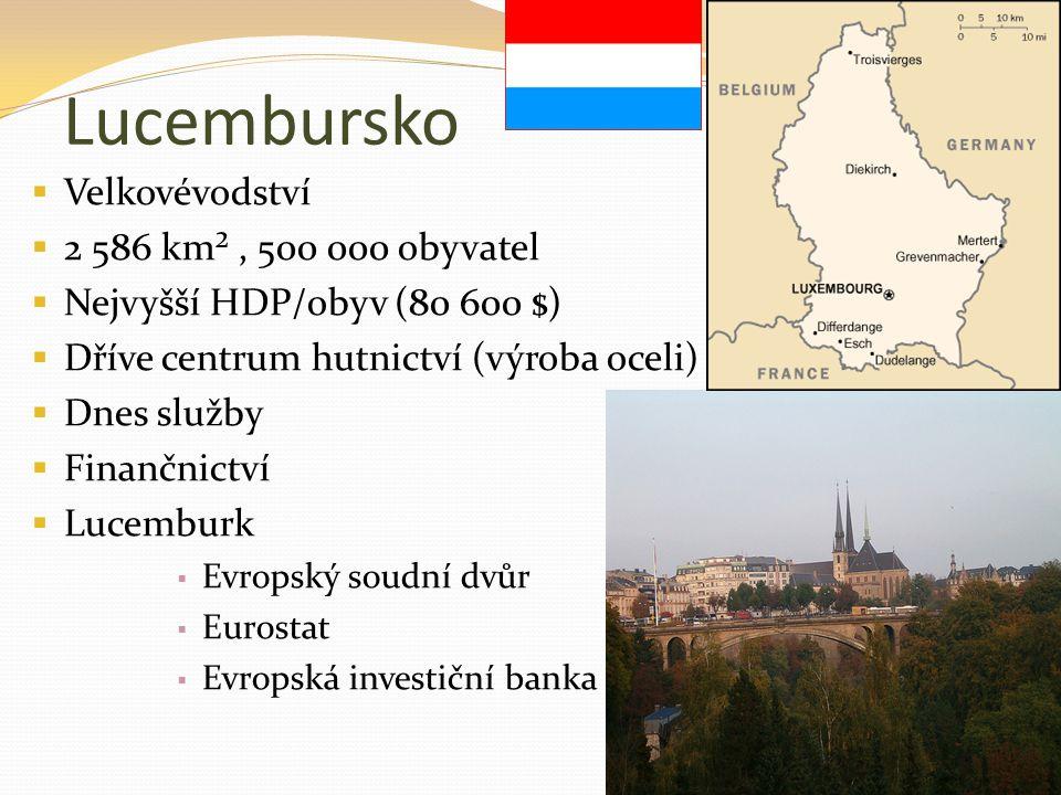 Lucembursko  Velkovévodství  2 586 km², 500 000 obyvatel  Nejvyšší HDP/obyv (80 600 $)  Dříve centrum hutnictví (výroba oceli)  Dnes služby  Fin