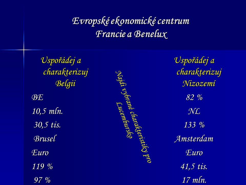 Evropské ekonomické centrum Francie a Benelux Belgické lázně Nizozemské město, ve kterém byla podepsána smlouva EU Belgické město, na které by nejraději zapomněl Napoleon Odděluje Fríské ostrovy od pevniny Holandský sýr i město Město v Nizozemsku Belgické pohoří Tajenka: Město (ležící na hranici 3 západoevropských států), podle něhož je nazvána důležitá smlouva EU Úkoly: 1) Charakterizujte tuto smlouvu 2) Pojmenujte problémy v zemích Beneluxu 3) Jaké mezinárodní instituce naleznete v Beneluxu?