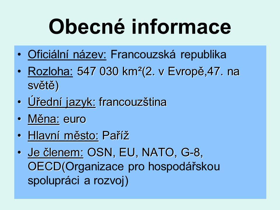 Obecné informace Oficiální název: Francouzská republika 547 030 km²(2.