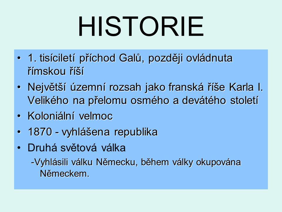 HISTORIE 1.tisíciletí příchod Galů, později ovládnuta římskou říší1.