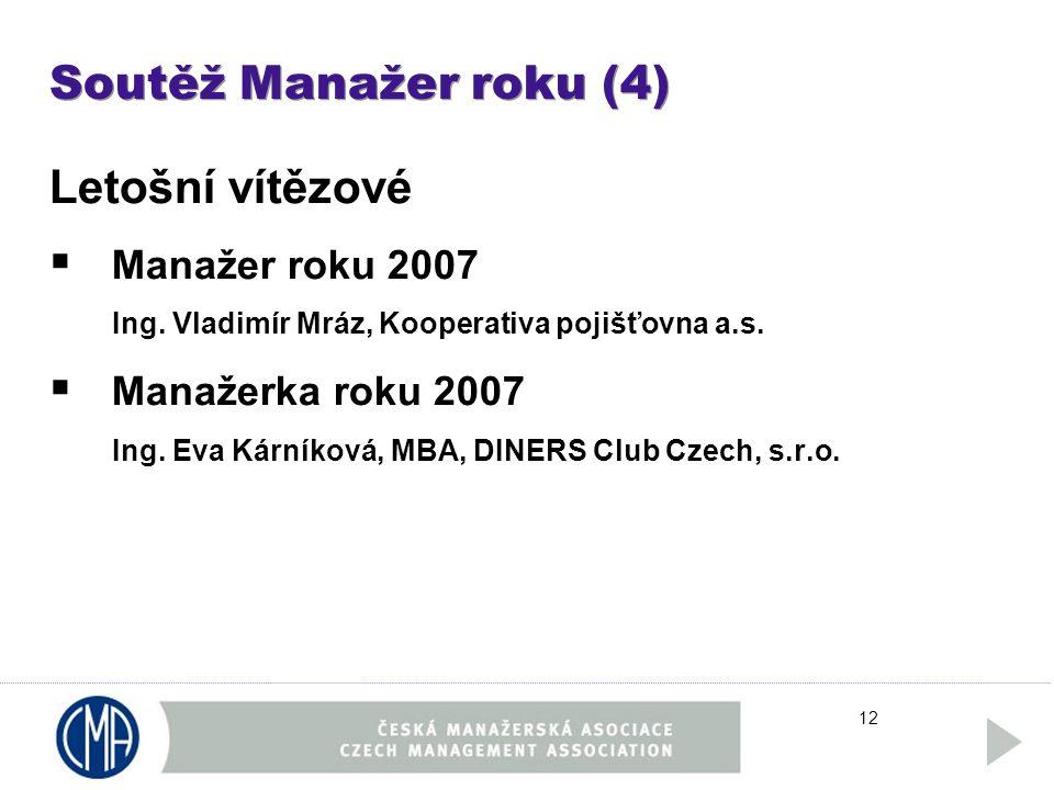 12 Soutěž Manažer roku (4) Letošní vítězové  Manažer roku 2007 Ing.