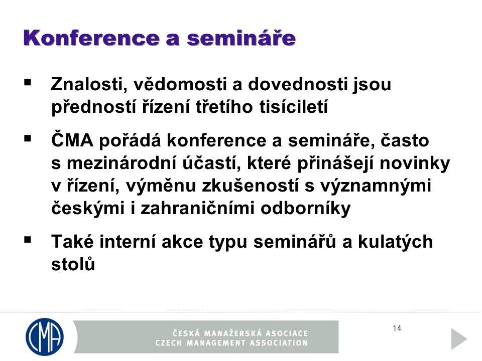 14 Konference a semináře  Znalosti, vědomosti a dovednosti jsou předností řízení třetího tisíciletí  ČMA pořádá konference a semináře, často s mezinárodní účastí, které přinášejí novinky v řízení, výměnu zkušeností s významnými českými i zahraničními odborníky  Také interní akce typu seminářů a kulatých stolů