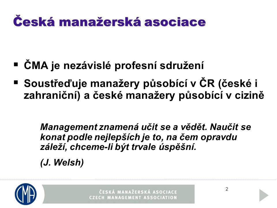 2 Česká manažerská asociace  ČMA je nezávislé profesní sdružení  Soustřeďuje manažery působící v ČR (české i zahraniční) a české manažery působící v cizině Management znamená učit se a vědět.