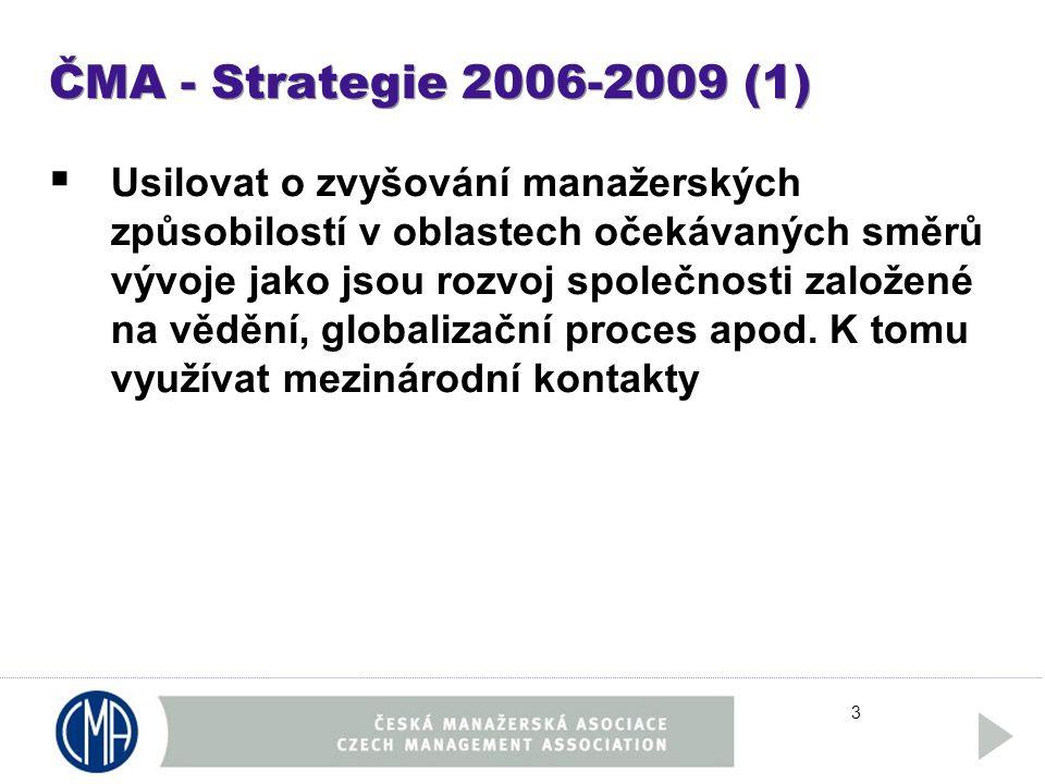 3 ČMA - Strategie 2006-2009 (1)  Usilovat o zvyšování manažerských způsobilostí v oblastech očekávaných směrů vývoje jako jsou rozvoj společnosti založené na vědění, globalizační proces apod.