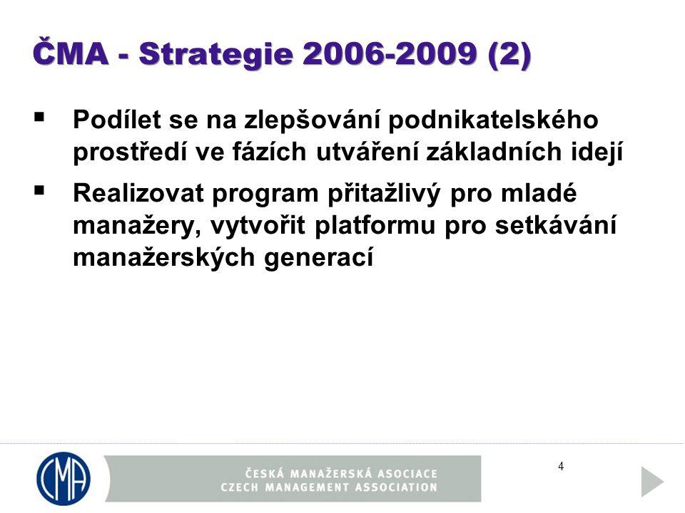4 ČMA - Strategie 2006-2009 (2)  Podílet se na zlepšování podnikatelského prostředí ve fázích utváření základních idejí  Realizovat program přitažlivý pro mladé manažery, vytvořit platformu pro setkávání manažerských generací