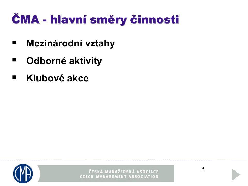 5 ČMA - hlavní směry činnosti  Mezinárodní vztahy  Odborné aktivity  Klubové akce
