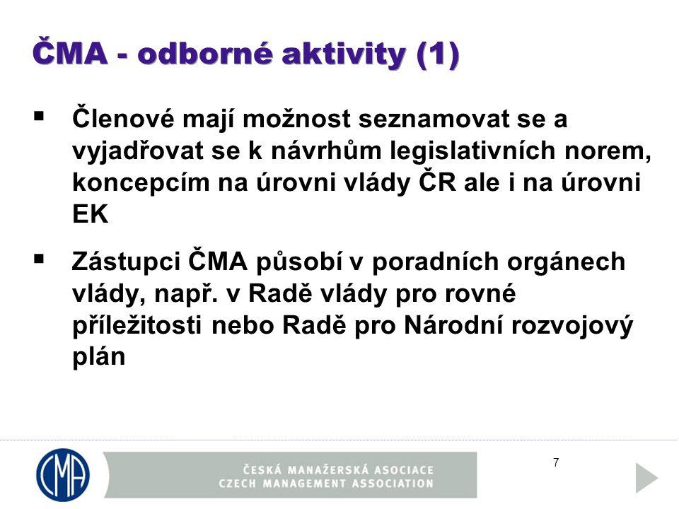 7 ČMA - odborné aktivity (1)  Členové mají možnost seznamovat se a vyjadřovat se k návrhům legislativních norem, koncepcím na úrovni vlády ČR ale i na úrovni EK  Zástupci ČMA působí v poradních orgánech vlády, např.