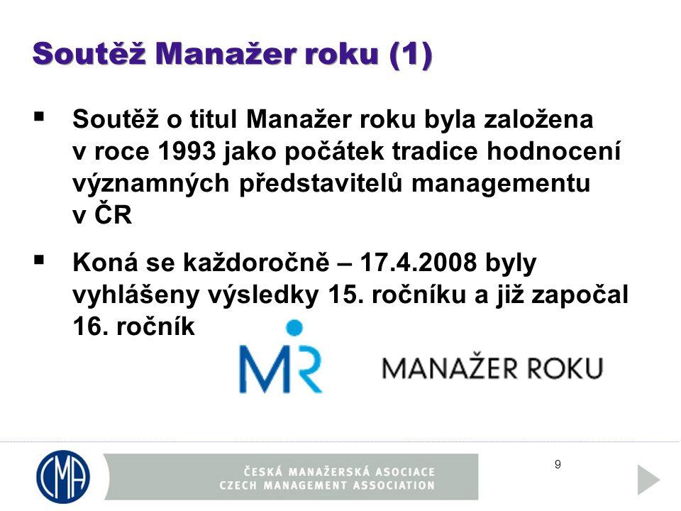 9 Soutěž Manažer roku (1)  Soutěž o titul Manažer roku byla založena v roce 1993 jako počátek tradice hodnocení významných představitelů managementu v ČR  Koná se každoročně – 17.4.2008 byly vyhlášeny výsledky 15.