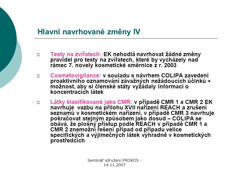 Seminář sdružení PROKOS - 14.11.2007 Hlavní navrhované změny IV  Testy na zvířatech: EK nehodlá navrhovat žádné změny pravidel pro testy na zvířatech, které by vycházely nad rámec 7.
