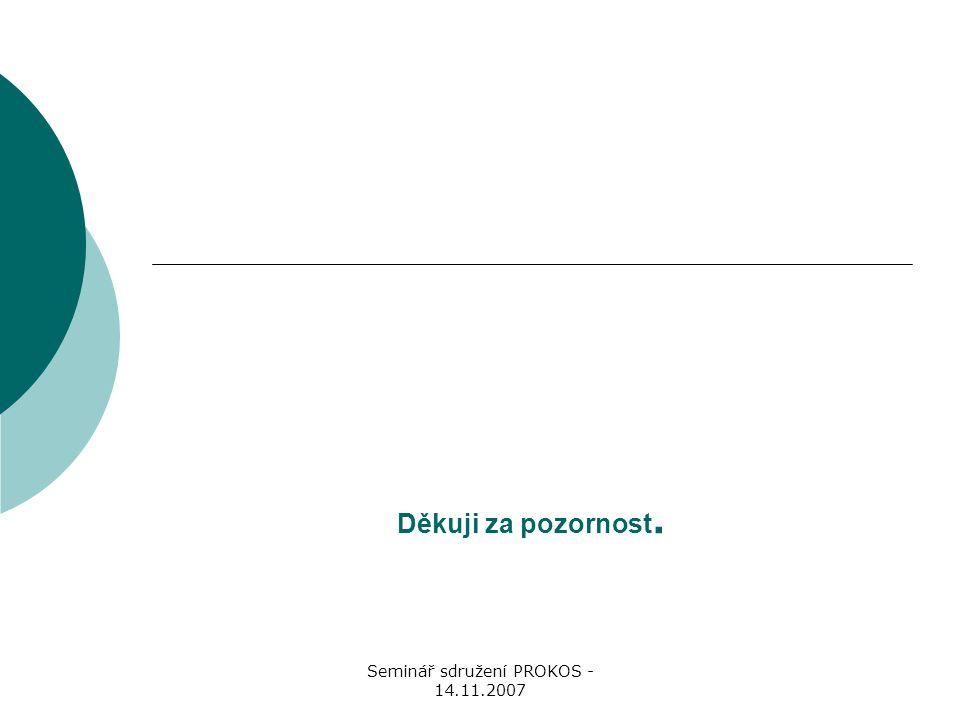Seminář sdružení PROKOS - 14.11.2007 Děkuji za pozornost.