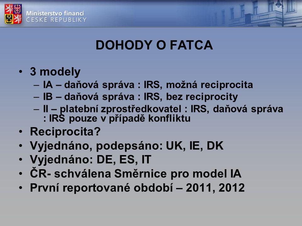 DOHODY O FATCA 3 modely –IA – daňová správa : IRS, možná reciprocita –IB – daňová správa : IRS, bez reciprocity –II – platební zprostředkovatel : IRS,