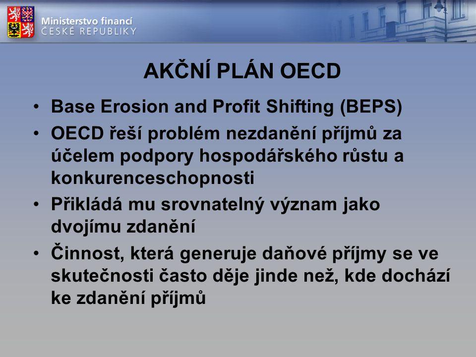 AKČNÍ PLÁN OECD Base Erosion and Profit Shifting (BEPS) OECD řeší problém nezdanění příjmů za účelem podpory hospodářského růstu a konkurenceschopnost