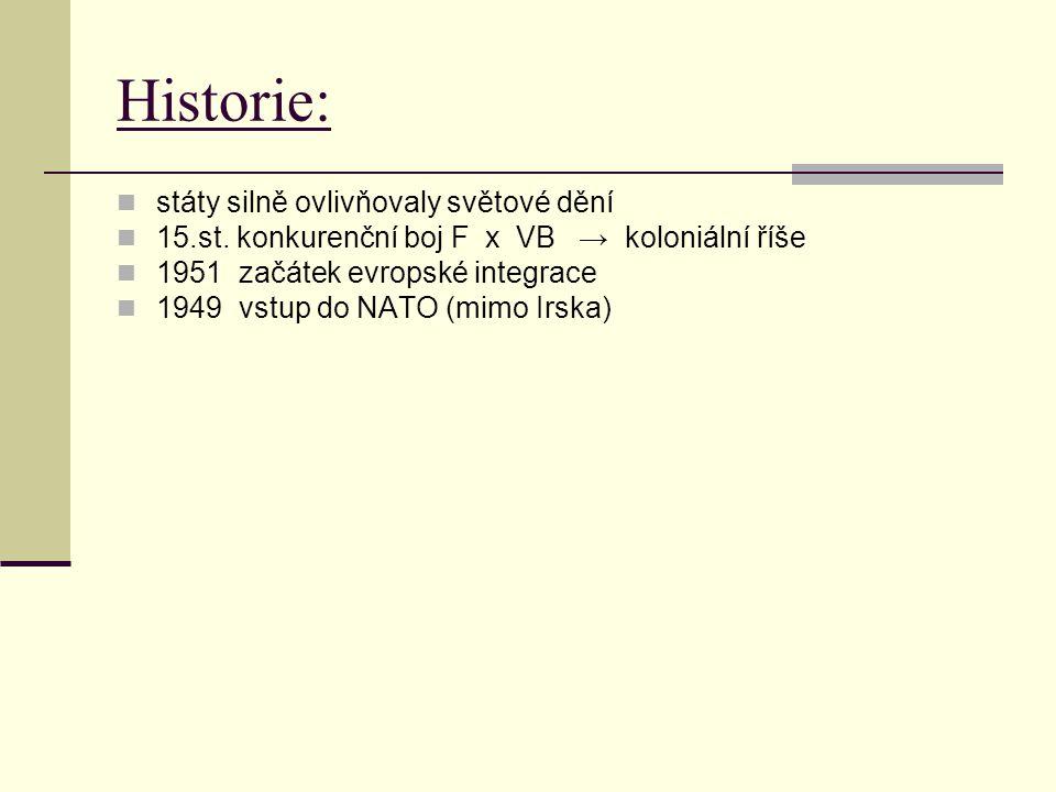 Historie: státy silně ovlivňovaly světové dění 15.st. konkurenční boj F x VB → koloniální říše 1951 začátek evropské integrace 1949 vstup do NATO (mim