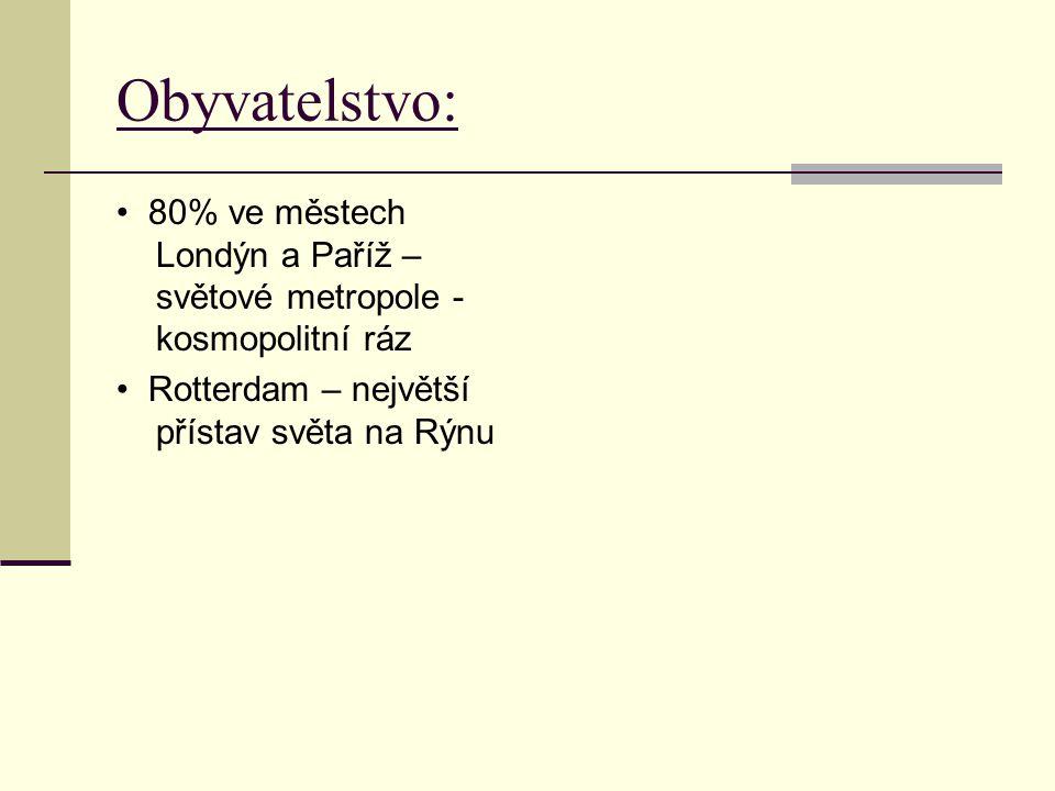 Obyvatelstvo: 80% ve městech Londýn a Paříž – světové metropole - kosmopolitní ráz Rotterdam – největší přístav světa na Rýnu
