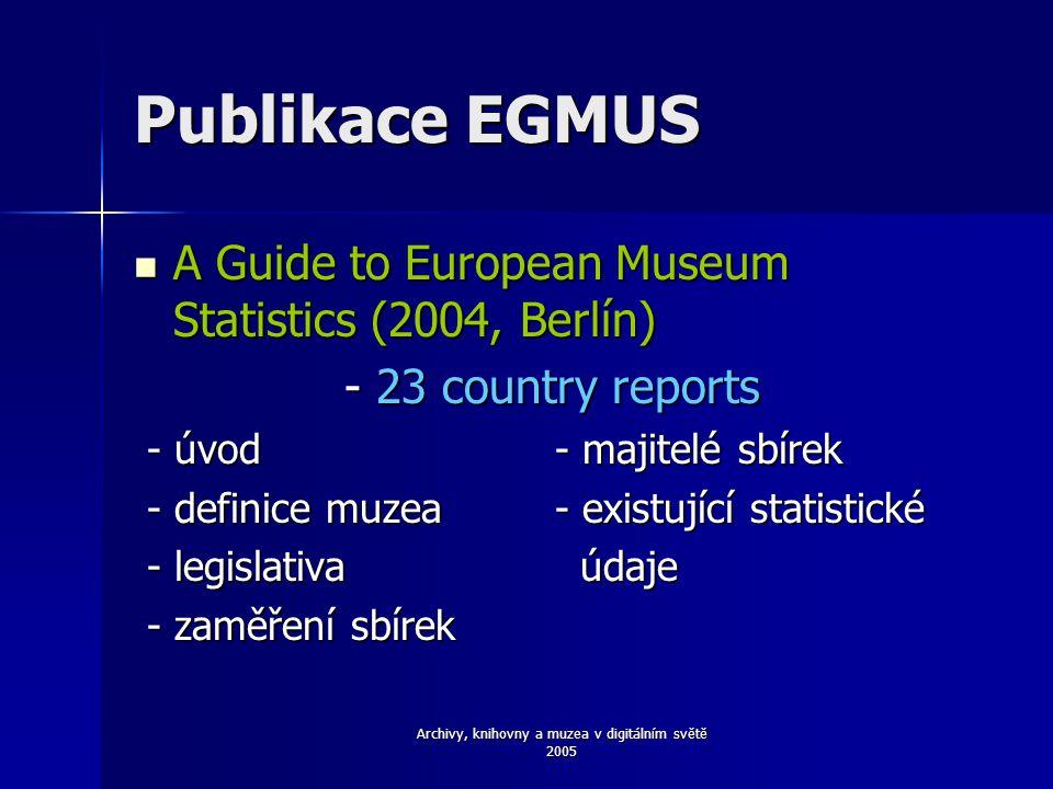 Archivy, knihovny a muzea v digitálním světě 2005 Publikace EGMUS A Guide to European Museum Statistics (2004, Berlín) A Guide to European Museum Statistics (2004, Berlín) - 23 country reports - 23 country reports - úvod- majitelé sbírek - úvod- majitelé sbírek - definice muzea- existující statistické - definice muzea- existující statistické - legislativa údaje - legislativa údaje - zaměření sbírek - zaměření sbírek