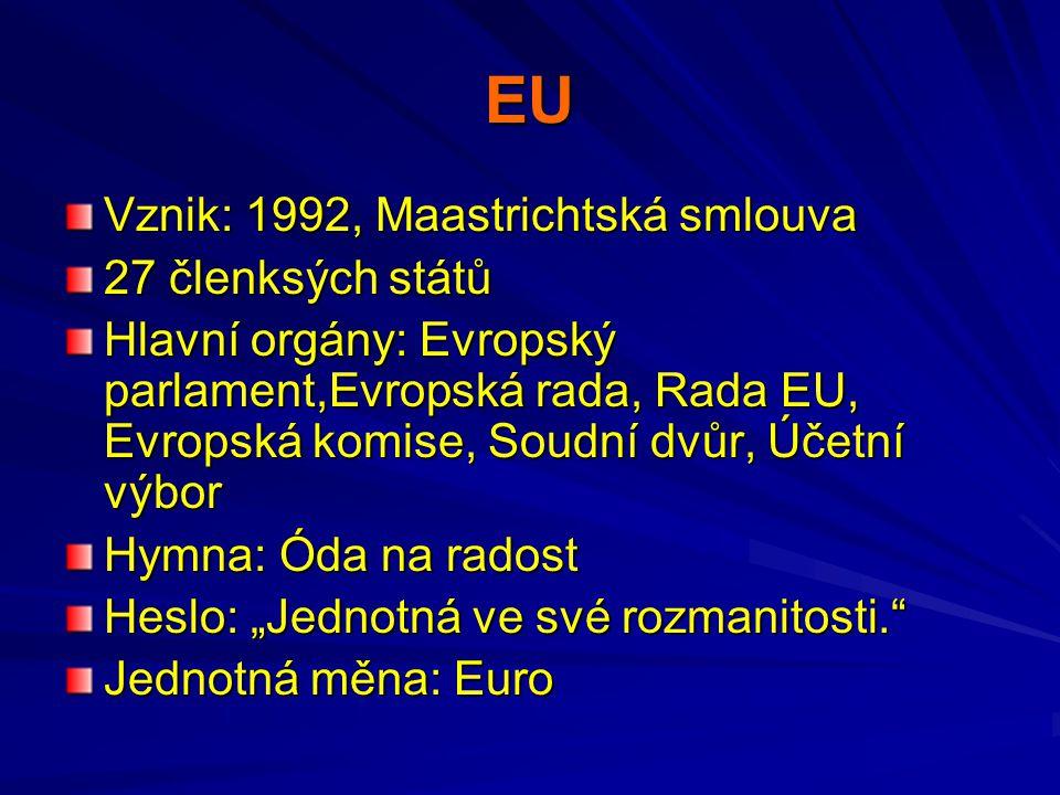 EU Vznik: 1992, Maastrichtská smlouva 27 členksých států Hlavní orgány: Evropský parlament,Evropská rada, Rada EU, Evropská komise, Soudní dvůr, Účetn