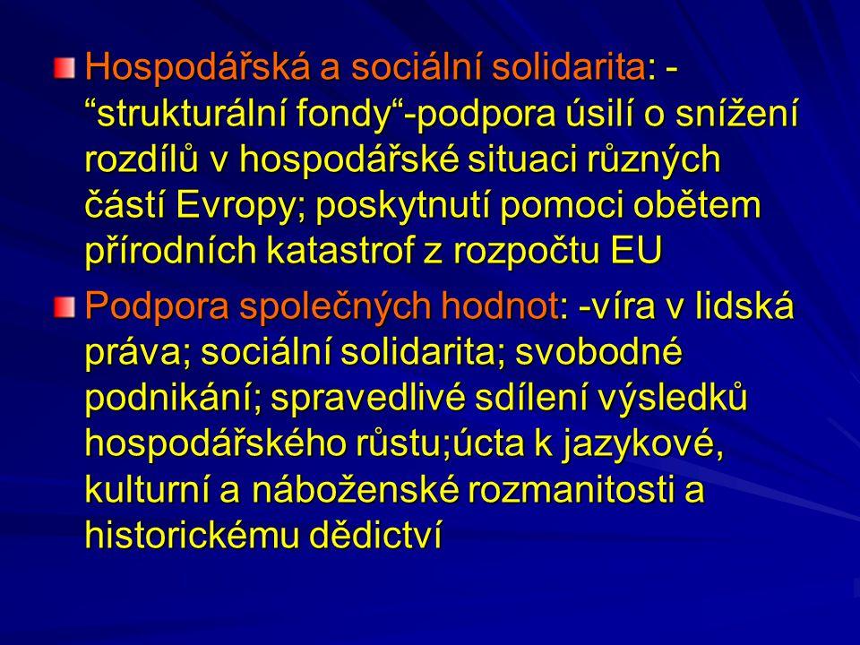 """Hospodářská a sociální solidarita: - """"strukturální fondy""""-podpora úsilí o snížení rozdílů v hospodářské situaci různých částí Evropy; poskytnutí pomoc"""