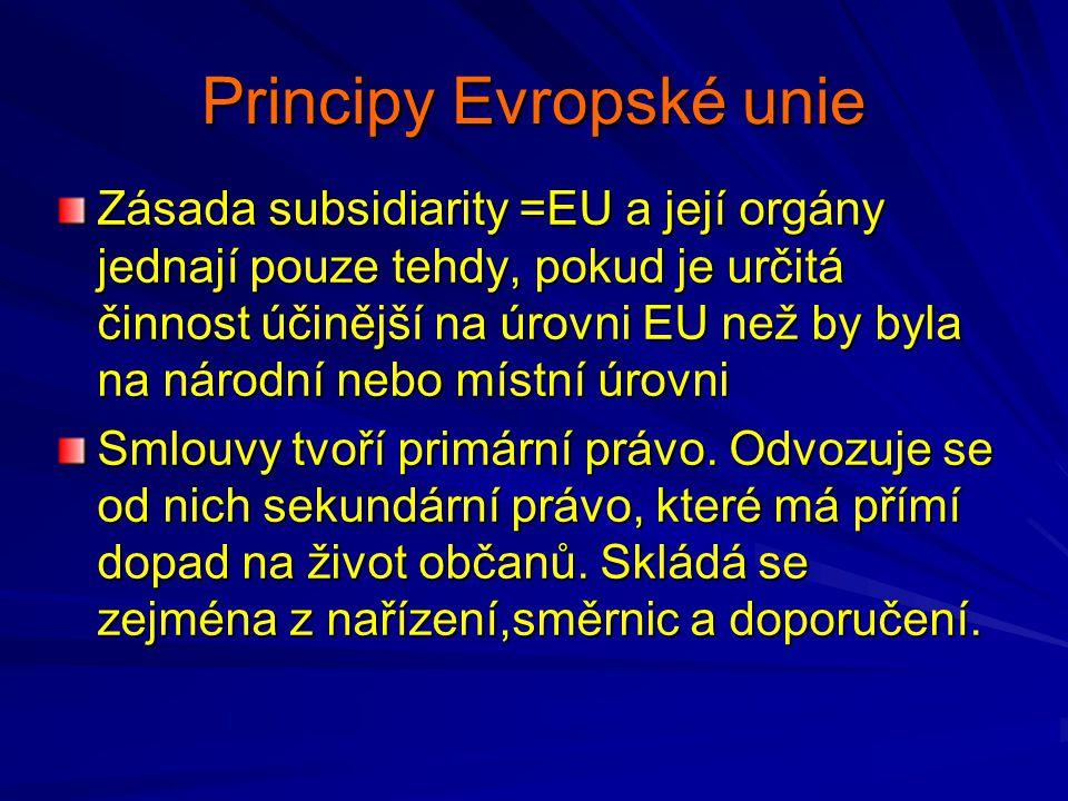 Principy Evropské unie Zásada subsidiarity =EU a její orgány jednají pouze tehdy, pokud je určitá činnost účinější na úrovni EU než by byla na národní