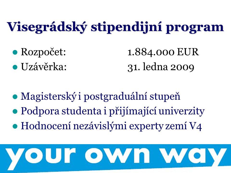 Visegrádský stipendijní program Rozpočet: 1.884.000 EUR Uzávěrka: 31.