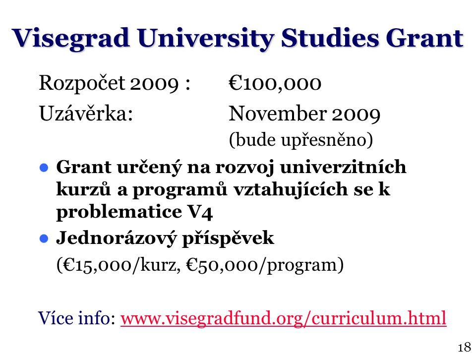 Rozpočet 2009 :€100,000 Uzávěrka: November 2009 (bude upřesněno) Grant určený na rozvoj univerzitních kurzů a programů vztahujících se k problematice V4 Jednorázový příspěvek (€15,000/kurz, €50,000/program) Více info: www.visegradfund.org/curriculum.htmlwww.visegradfund.org/curriculum.html Visegrad University Studies Grant 18