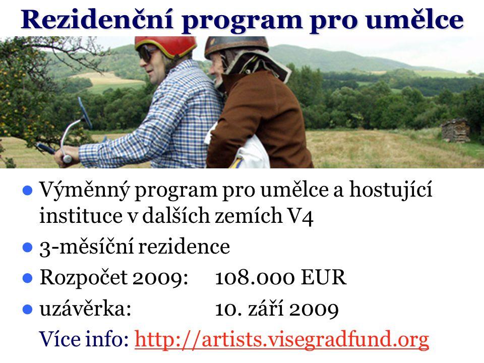 Výměnný program pro umělce a hostující instituce v dalších zemích V4 3-měsíční rezidence Rozpočet 2009:108.000 EUR uzávěrka:10.