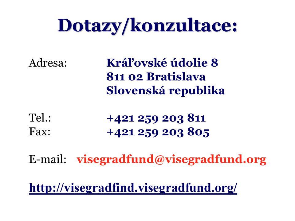 Dotazy/konzultace: Adresa:Kráľovské údolie 8 811 02 Bratislava Slovenská republika Tel.: +421 259 203 811 Fax:+421 259 203 805 E-mail:visegradfund@visegradfund.org http://visegradfind.visegradfund.org/
