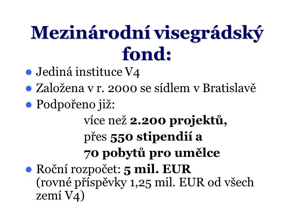 Mezinárodní visegrádský fond: Jediná instituce V4 Založena v r.