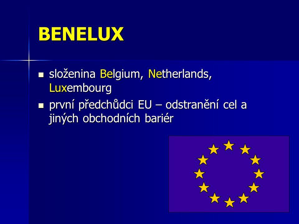 BENELUX složenina Belgium, Netherlands, Luxembourg složenina Belgium, Netherlands, Luxembourg první předchůdci EU – odstranění cel a jiných obchodních