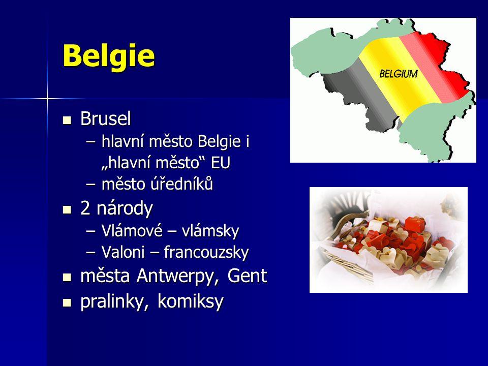 """Belgie Brusel Brusel –hlavní město Belgie i """"hlavní město"""" EU –město úředníků 2 národy 2 národy –Vlámové – vlámsky –Valoni – francouzsky města Antwerp"""