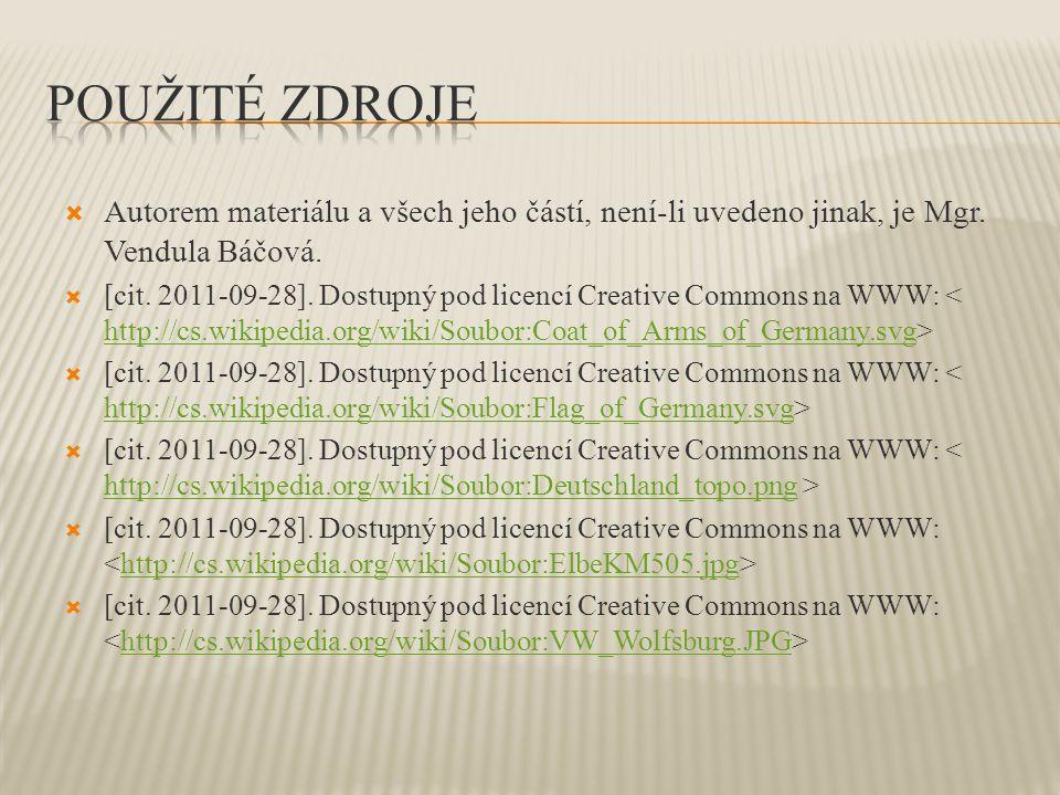  Autorem materiálu a všech jeho částí, není-li uvedeno jinak, je Mgr. Vendula Báčová.  [cit. 2011-09-28]. Dostupný pod licencí Creative Commons na W