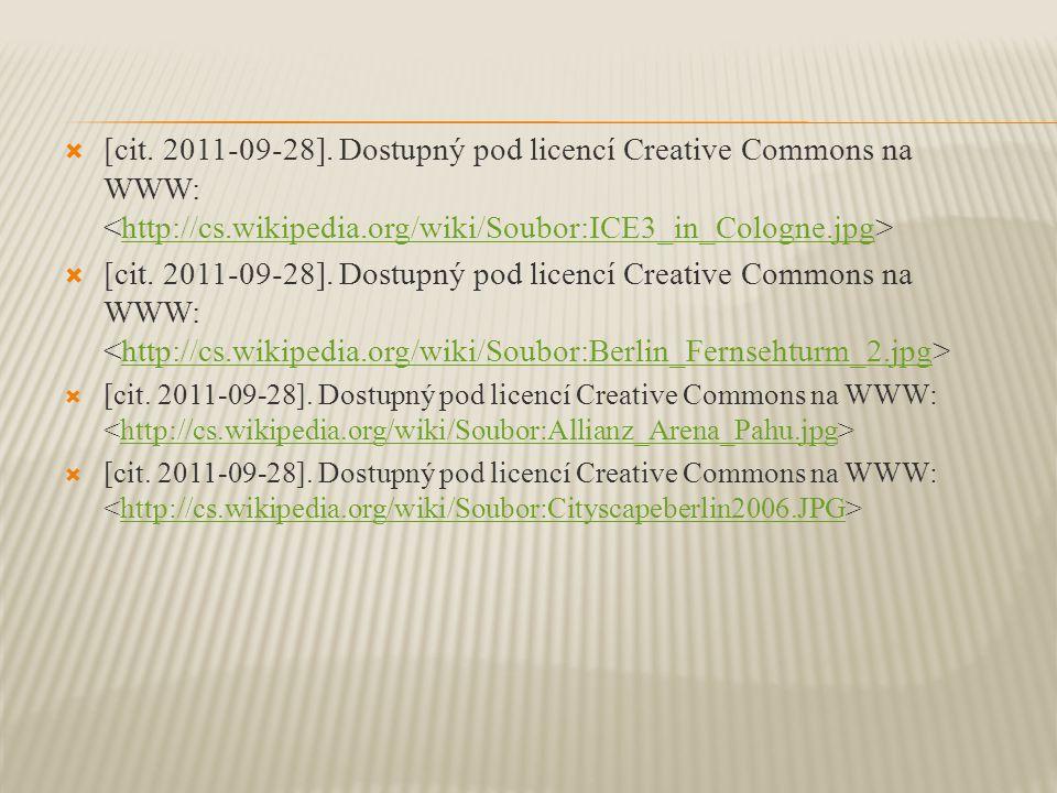  [cit. 2011-09-28]. Dostupný pod licencí Creative Commons na WWW: http://cs.wikipedia.org/wiki/Soubor:ICE3_in_Cologne.jpg  [cit. 2011-09-28]. Dostup