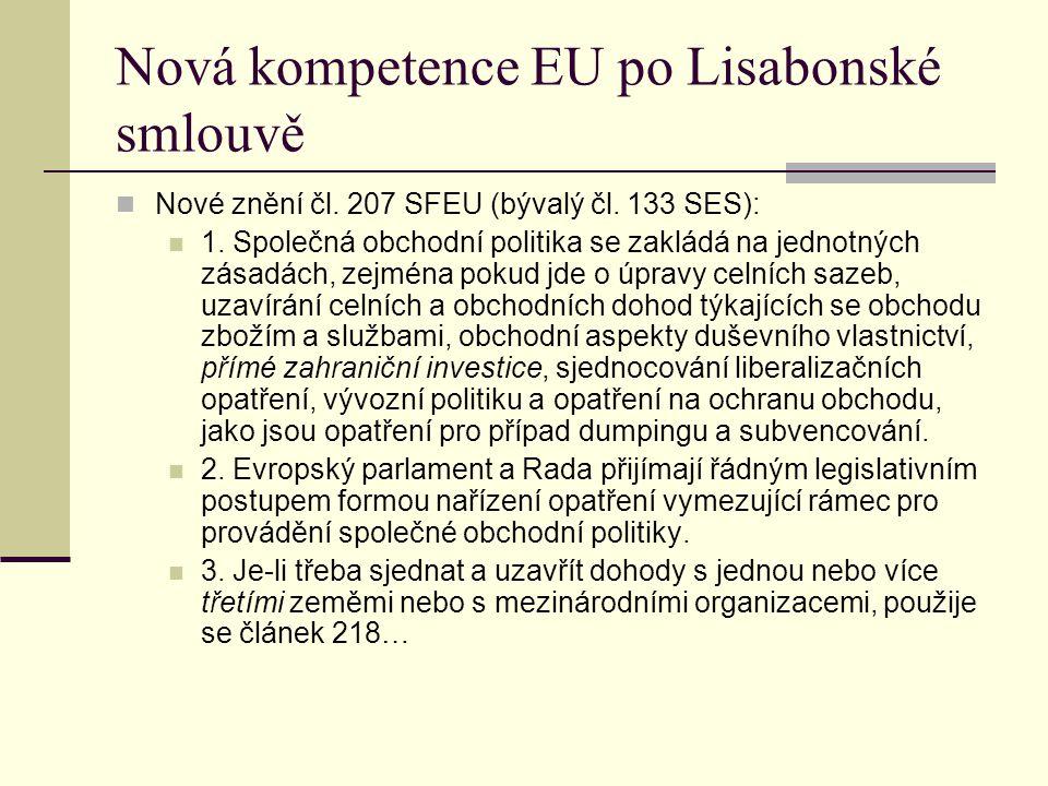 Nová kompetence EU po Lisabonské smlouvě Nové znění čl.