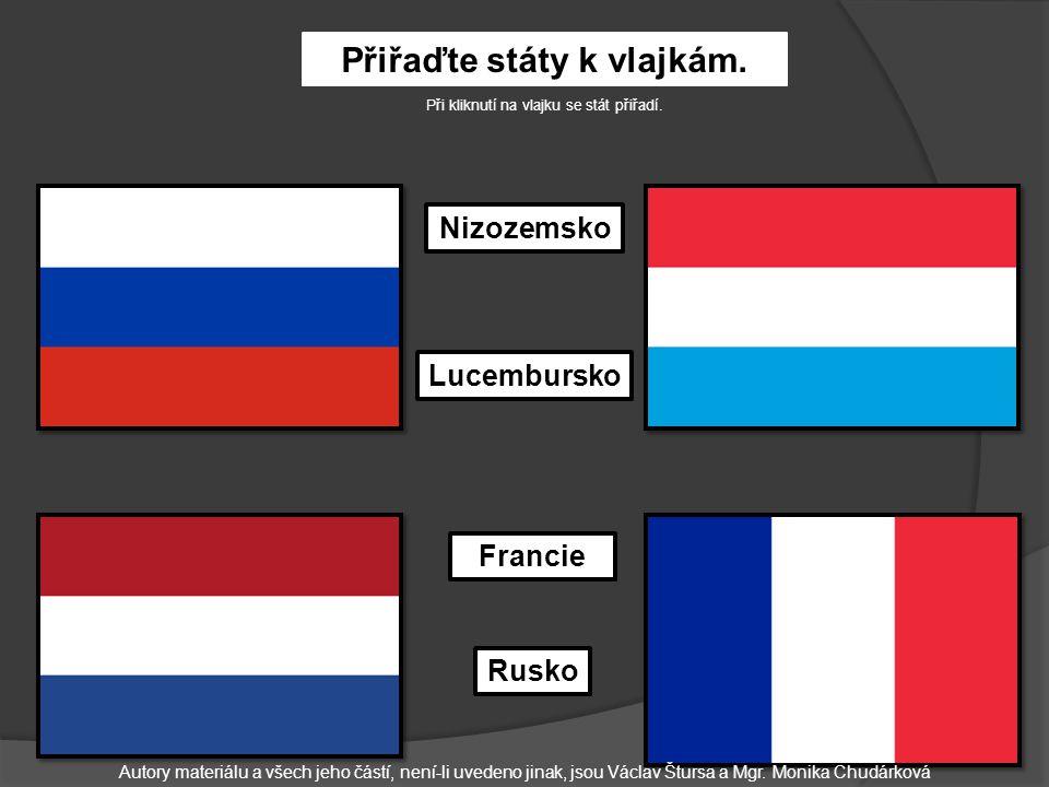 Přiřaďte státy k vlajkám.