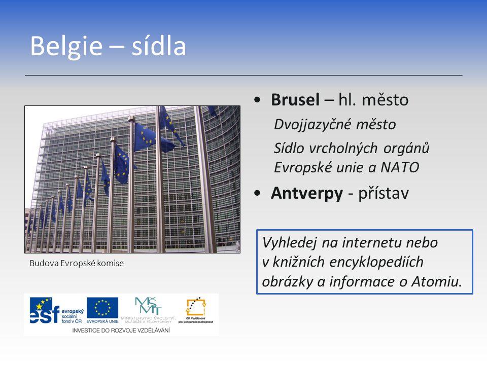 Belgie – sídla Brusel – hl. město Dvojjazyčné město Sídlo vrcholných orgánů Evropské unie a NATO Antverpy - přístav Budova Evropské komise Vyhledej na