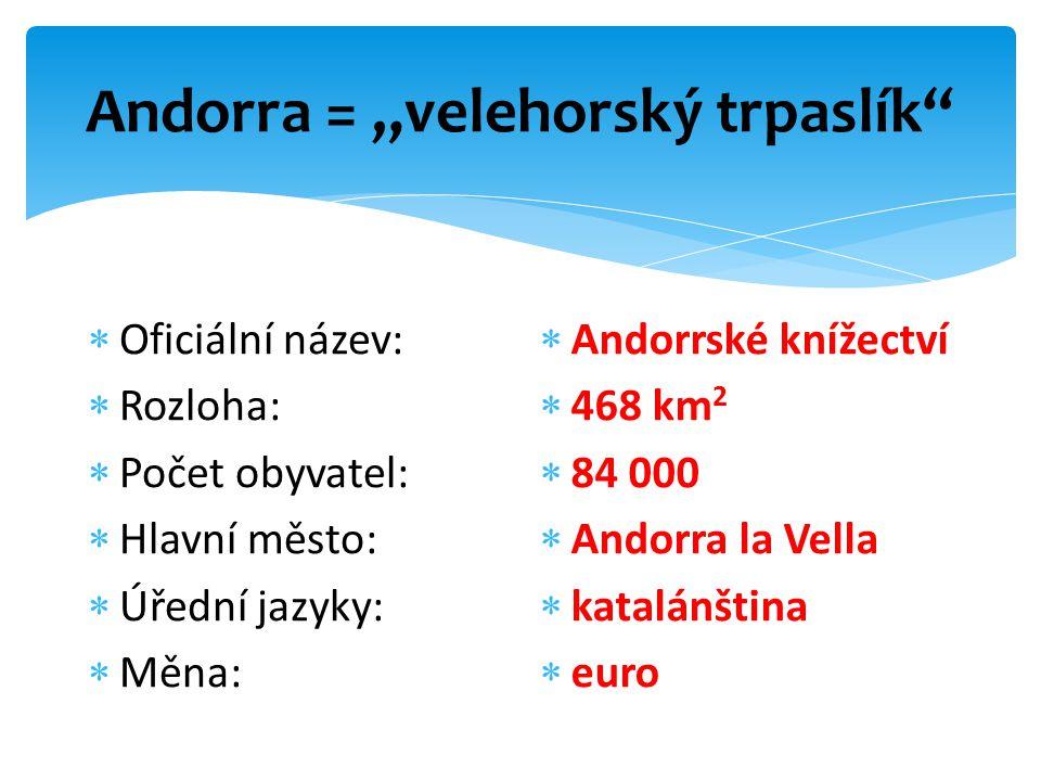 """Andorra = """"velehorský trpaslík  Oficiální název:  Rozloha:  Počet obyvatel:  Hlavní město:  Úřední jazyky:  Měna:  Andorrské knížectví  468 km 2  84 000  Andorra la Vella  katalánština  euro"""