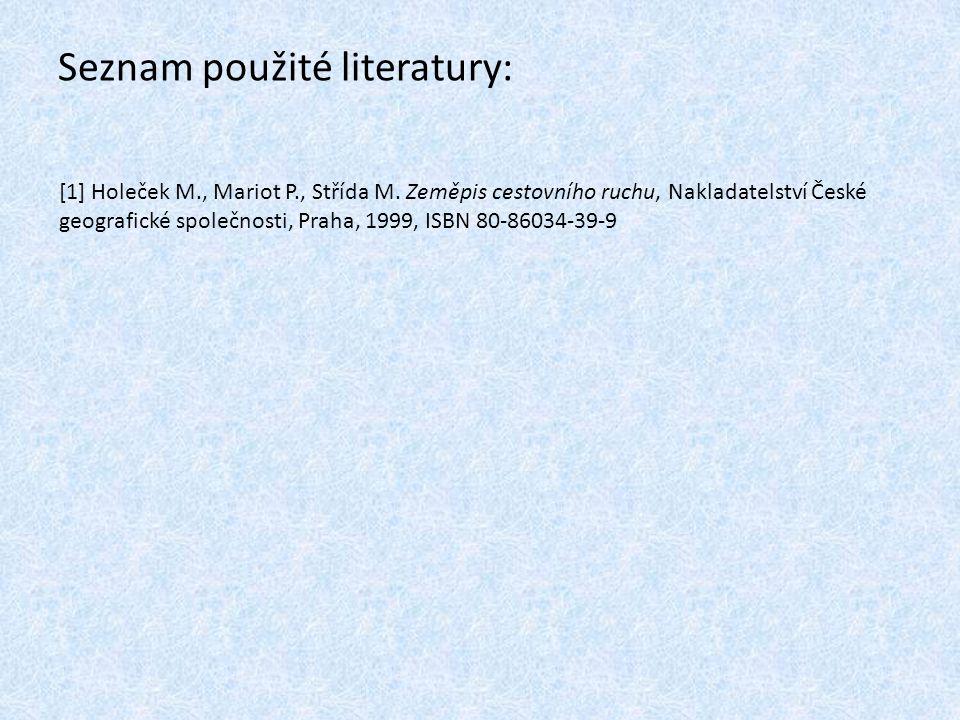Seznam použité literatury: [1] Holeček M., Mariot P., Střída M.