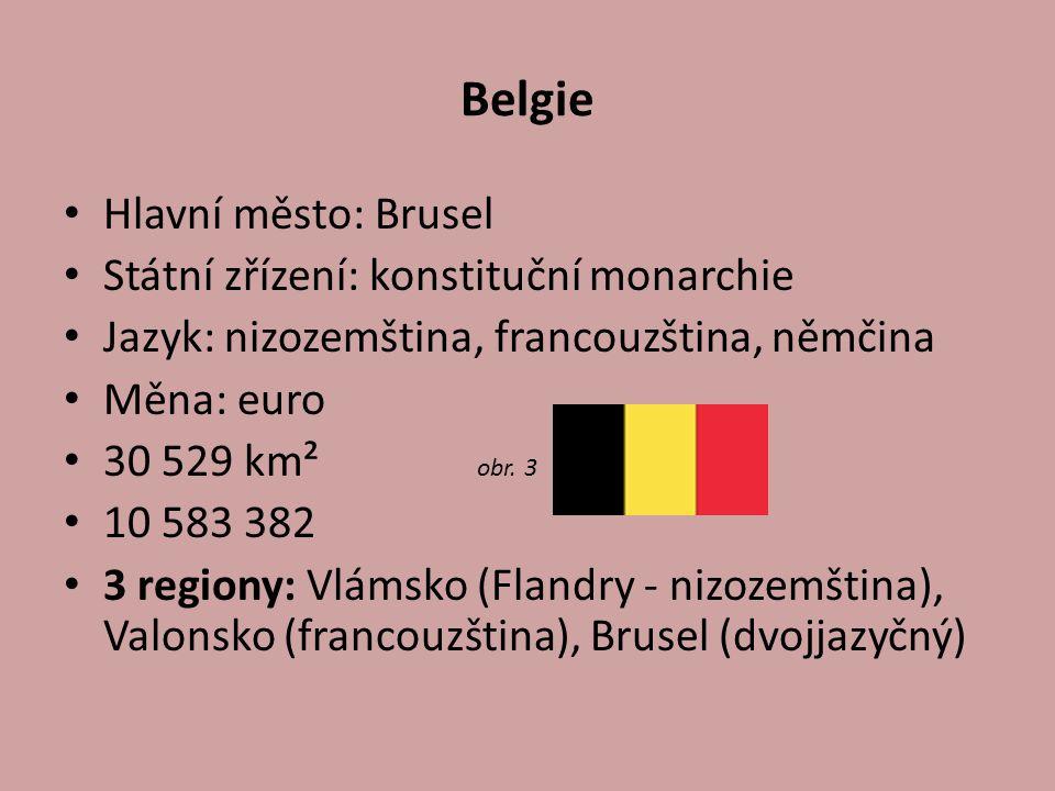 Belgie Hlavní město: Brusel Státní zřízení: konstituční monarchie Jazyk: nizozemština, francouzština, němčina Měna: euro 30 529 km² obr.